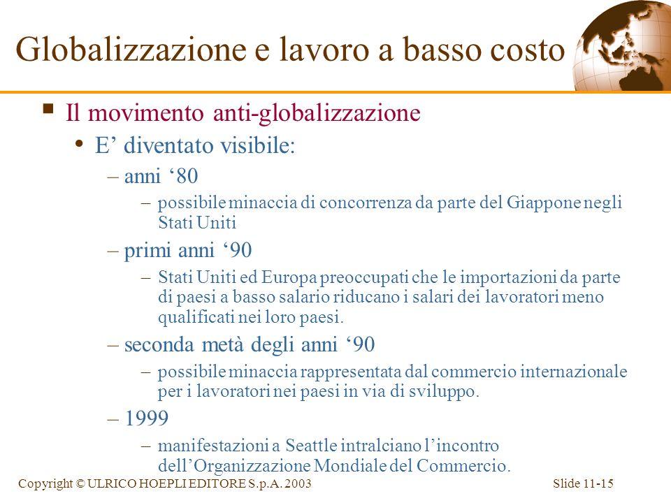 Slide 11-15Copyright © ULRICO HOEPLI EDITORE S.p.A. 2003 Il movimento anti-globalizzazione E diventato visibile: –anni 80 –possibile minaccia di conco