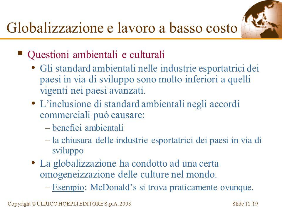 Slide 11-19Copyright © ULRICO HOEPLI EDITORE S.p.A. 2003 Questioni ambientali e culturali Gli standard ambientali nelle industrie esportatrici dei pae