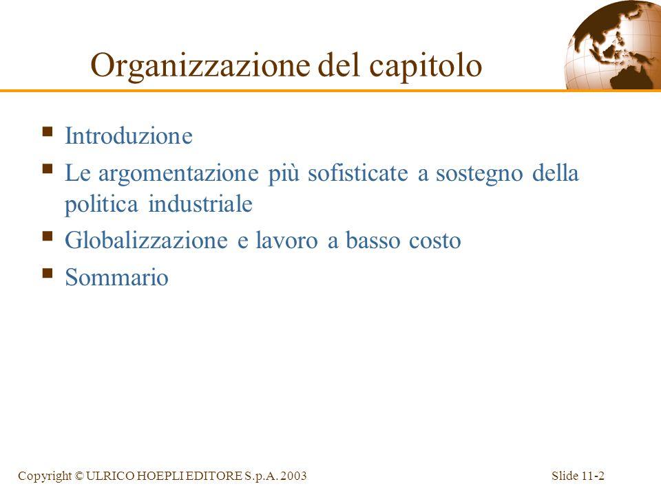 Slide 11-2Copyright © ULRICO HOEPLI EDITORE S.p.A. 2003 Organizzazione del capitolo Introduzione Le argomentazione più sofisticate a sostegno della po