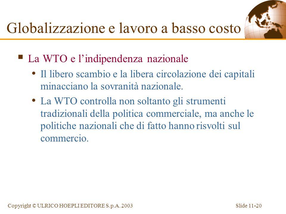 Slide 11-20Copyright © ULRICO HOEPLI EDITORE S.p.A. 2003 La WTO e lindipendenza nazionale Il libero scambio e la libera circolazione dei capitali mina