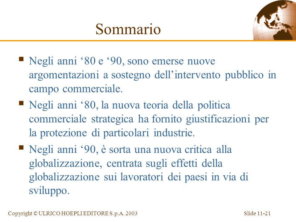 Slide 11-21Copyright © ULRICO HOEPLI EDITORE S.p.A. 2003 Sommario Negli anni 80 e 90, sono emerse nuove argomentazioni a sostegno dellintervento pubbl