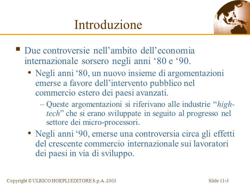 Slide 11-3Copyright © ULRICO HOEPLI EDITORE S.p.A. 2003 Introduzione Due controversie nellambito delleconomia internazionale sorsero negli anni 80 e 9