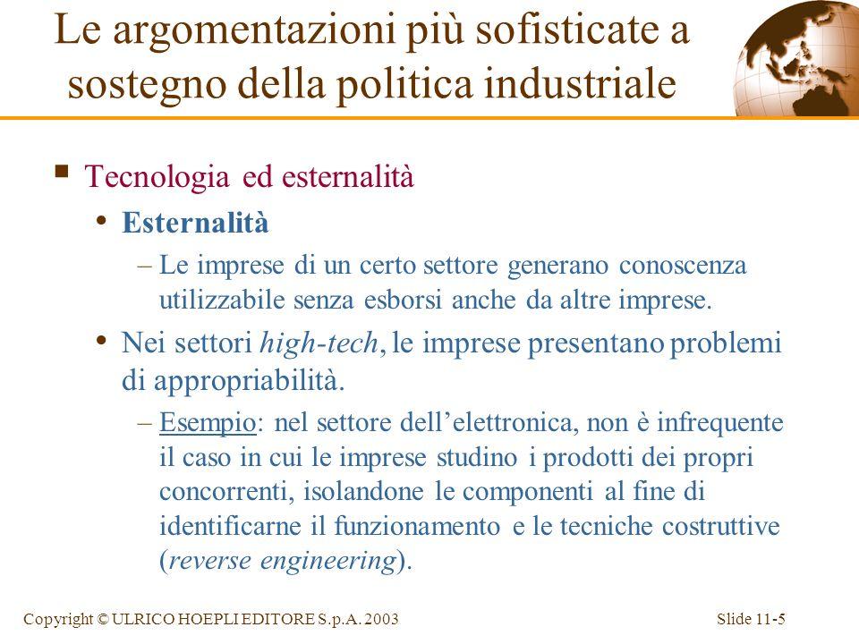 Slide 11-5Copyright © ULRICO HOEPLI EDITORE S.p.A. 2003 Tecnologia ed esternalità Esternalità –Le imprese di un certo settore generano conoscenza util