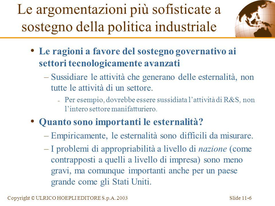 Slide 11-6Copyright © ULRICO HOEPLI EDITORE S.p.A. 2003 Le ragioni a favore del sostegno governativo ai settori tecnologicamente avanzati –Sussidiare