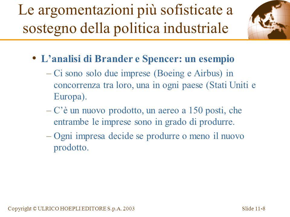 Slide 11-8Copyright © ULRICO HOEPLI EDITORE S.p.A. 2003 Lanalisi di Brander e Spencer: un esempio –Ci sono solo due imprese (Boeing e Airbus) in conco
