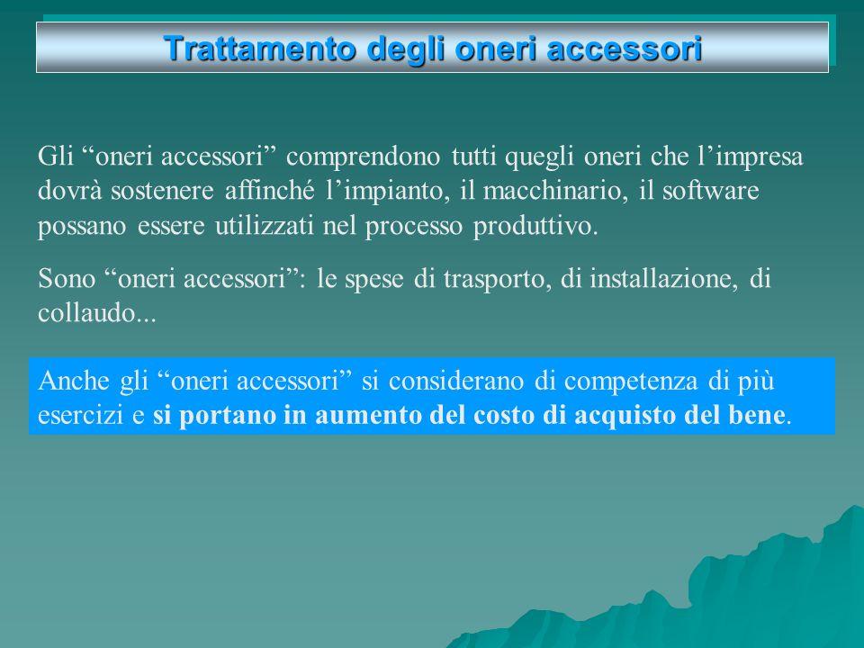 Trattamento degli oneri accessori Gli oneri accessori comprendono tutti quegli oneri che limpresa dovrà sostenere affinché limpianto, il macchinario, il software possano essere utilizzati nel processo produttivo.