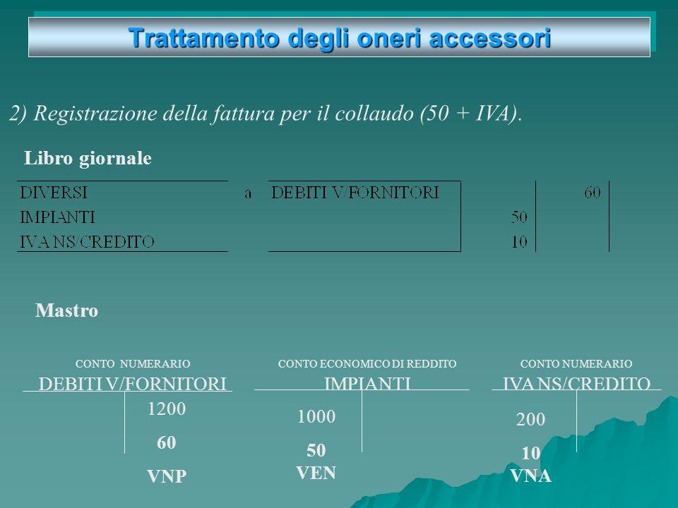 Trattamento degli oneri accessori Es: Ricevute due fatture: una per la fornitura dellimpianto (1.000 + IVA), e una per il collaudo (50 + IVA). 1.000 V