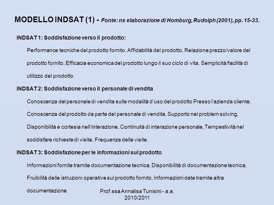 MODELLO INDSAT (1) - Fonte: ns elaborazione di Homburg, Rudolph (2001), pp. 15-33. INDSAT 1: Soddisfazione verso il prodotto: Performance tecniche del