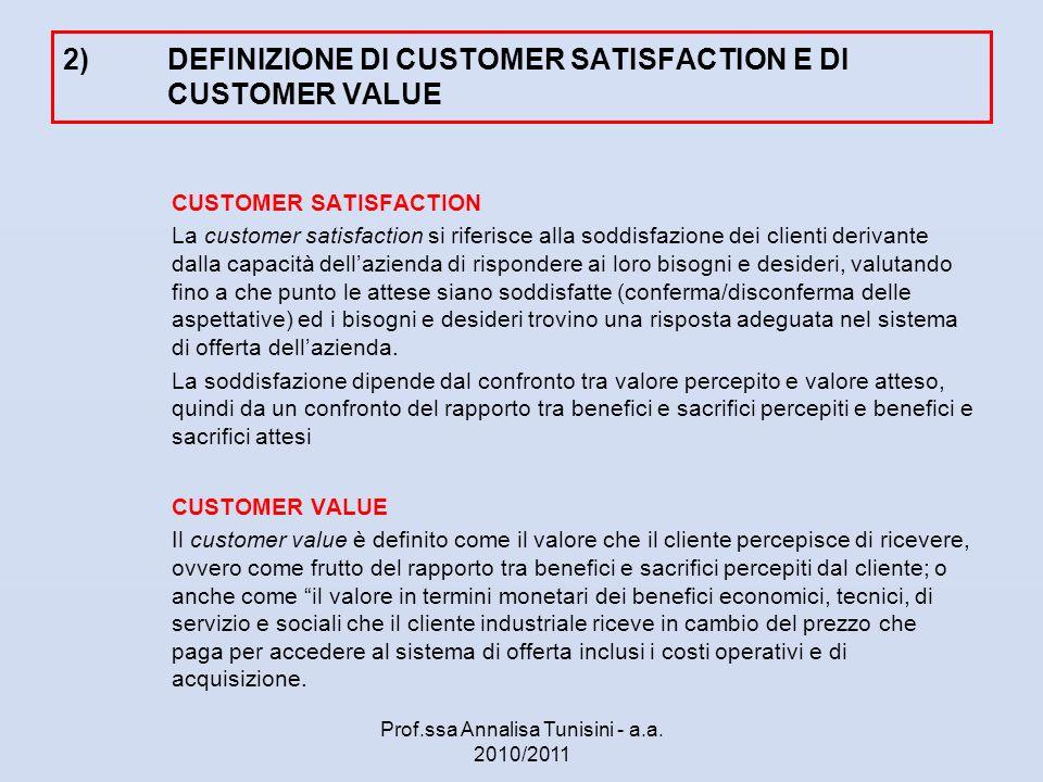 2)DEFINIZIONE DI CUSTOMER SATISFACTION E DI CUSTOMER VALUE CUSTOMER SATISFACTION La customer satisfaction si riferisce alla soddisfazione dei clienti