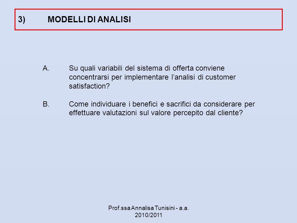 A.Su quali variabili del sistema di offerta conviene concentrarsi per implementare lanalisi di customer satisfaction? B.Come individuare i benefici e