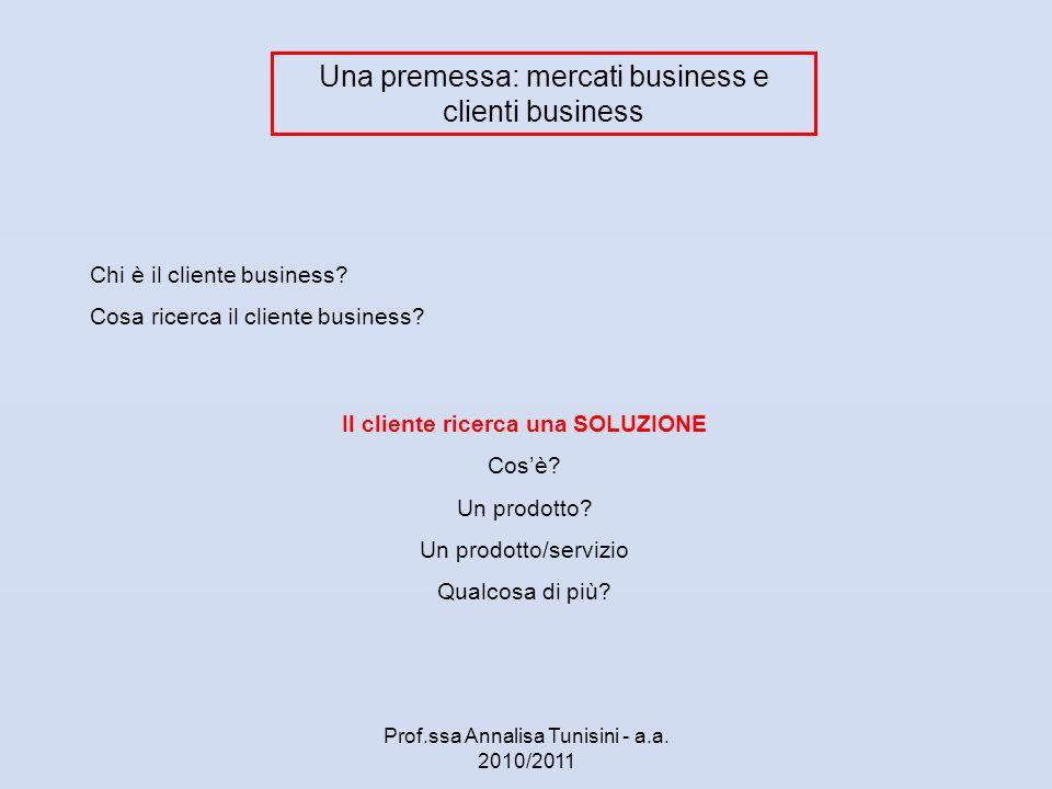 Una premessa: mercati business e clienti business Chi è il cliente business? Cosa ricerca il cliente business? Il cliente ricerca una SOLUZIONE Cosè?