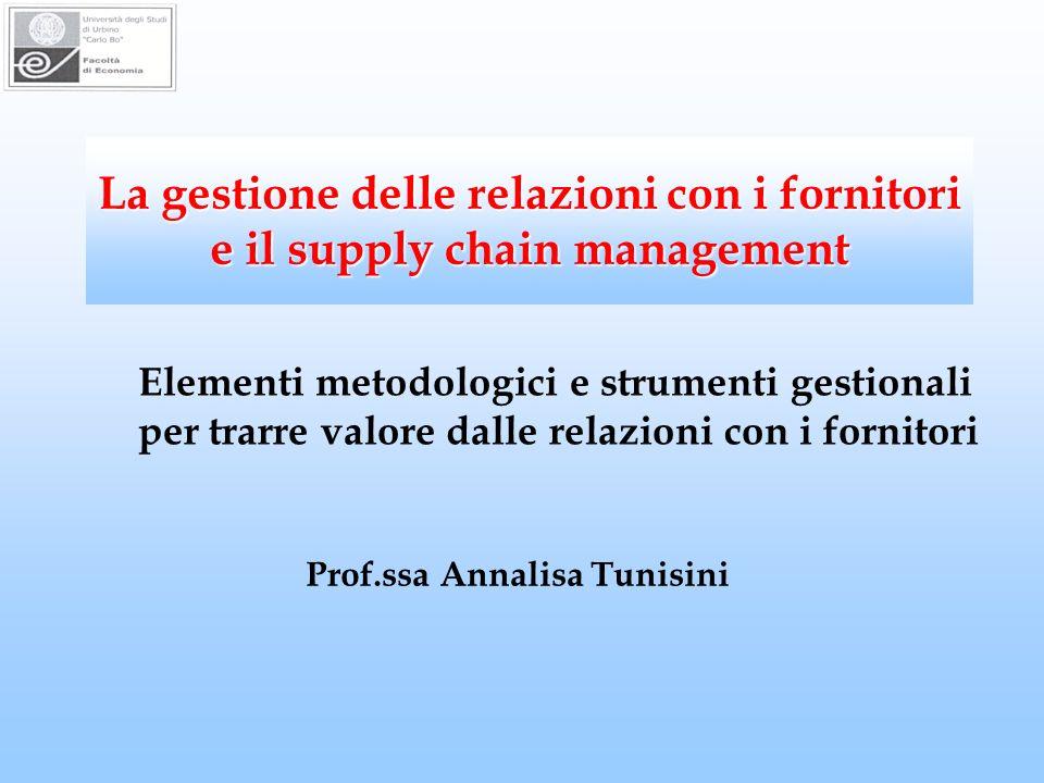 La gestione delle relazioni con i fornitori e il supply chain management Prof.ssa Annalisa Tunisini Elementi metodologici e strumenti gestionali per trarre valore dalle relazioni con i fornitori