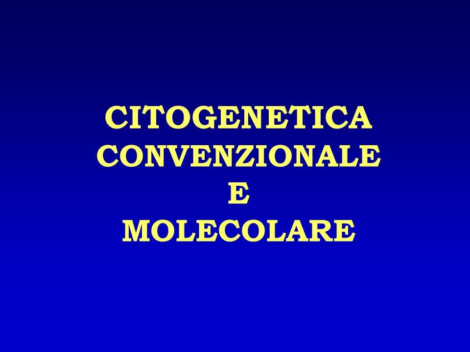 CITOGENETICA CONVENZIONALE La citogenetica convenzionale è una tecnica che permette lo studio del numero e della struttura dei cromosomi (studio del cariotipo) I cromosomi vengono esaminati bloccati in metafase.