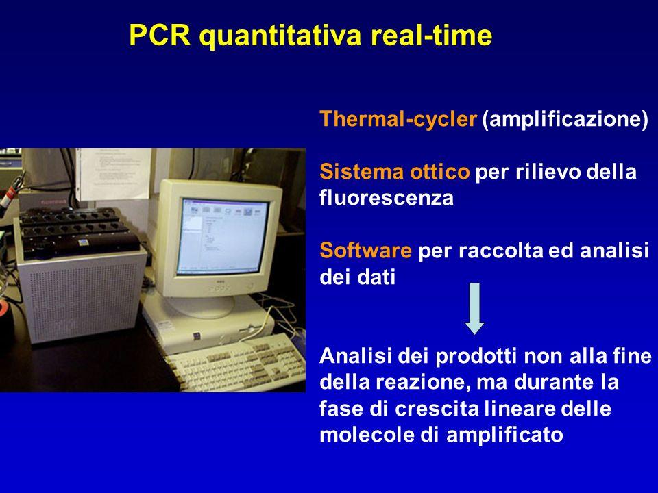 PCR quantitativa real-time Thermal-cycler (amplificazione) Sistema ottico per rilievo della fluorescenza Software per raccolta ed analisi dei dati Ana