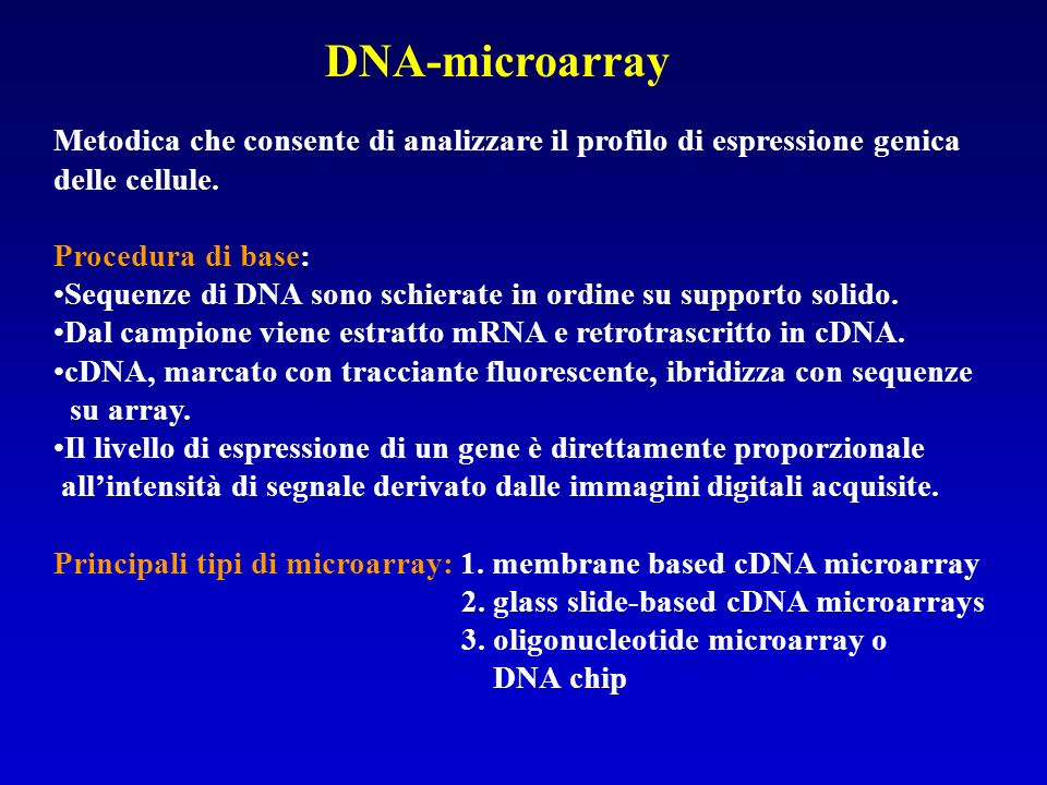 DNA-microarray Metodica che consente di analizzare il profilo di espressione genica delle cellule. Procedura di base: Sequenze di DNA sono schierate i