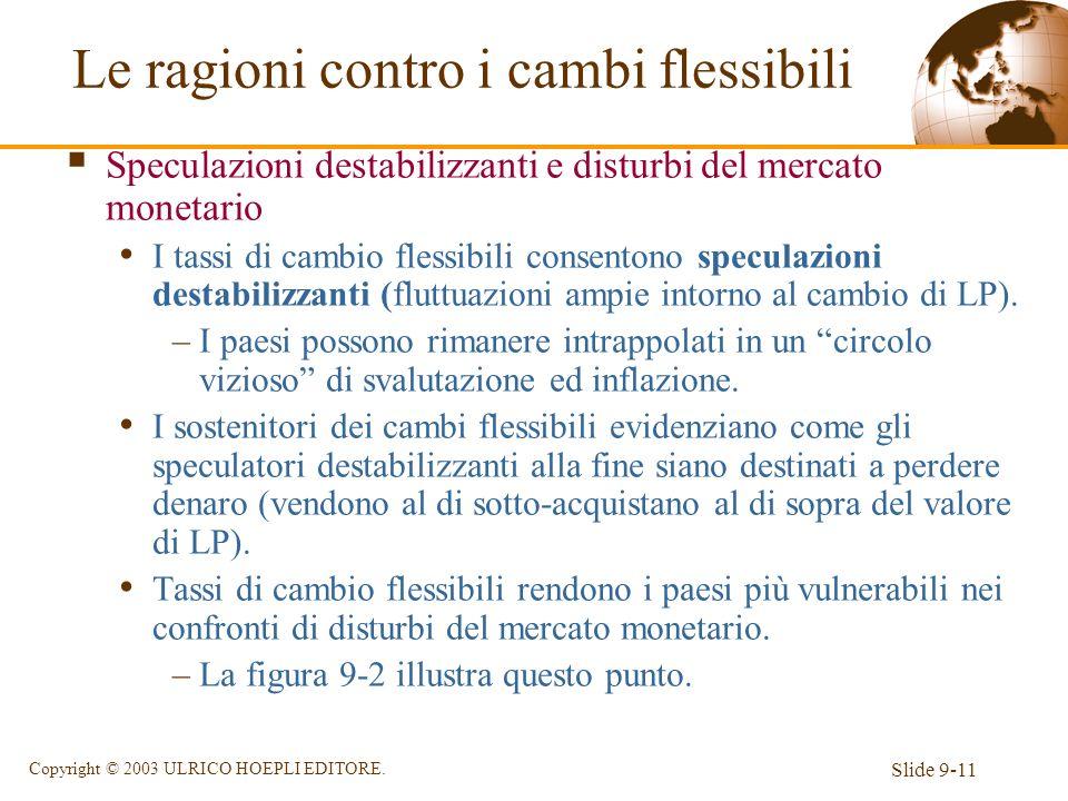Slide 9-11 Copyright © 2003 ULRICO HOEPLI EDITORE. Speculazioni destabilizzanti e disturbi del mercato monetario I tassi di cambio flessibili consento