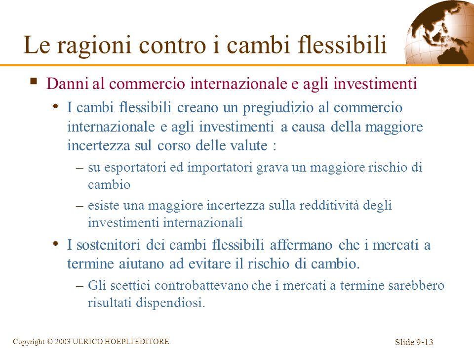 Slide 9-13 Copyright © 2003 ULRICO HOEPLI EDITORE. Danni al commercio internazionale e agli investimenti I cambi flessibili creano un pregiudizio al c
