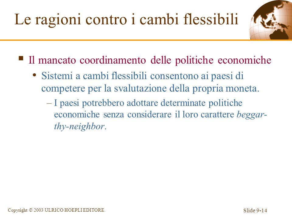 Slide 9-14 Copyright © 2003 ULRICO HOEPLI EDITORE. Il mancato coordinamento delle politiche economiche Sistemi a cambi flessibili consentono ai paesi
