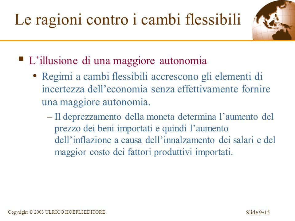Slide 9-15 Copyright © 2003 ULRICO HOEPLI EDITORE. Lillusione di una maggiore autonomia Regimi a cambi flessibili accrescono gli elementi di incertezz
