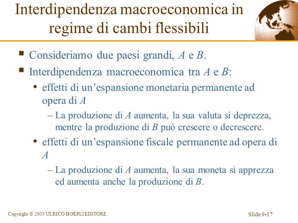 Slide 9-17 Copyright © 2003 ULRICO HOEPLI EDITORE. Interdipendenza macroeconomica in regime di cambi flessibili Consideriamo due paesi grandi, A e B.