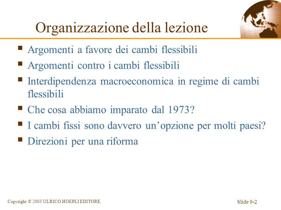Slide 9-2 Copyright © 2003 ULRICO HOEPLI EDITORE. Organizzazione della lezione Argomenti a favore dei cambi flessibili Argomenti contro i cambi flessi