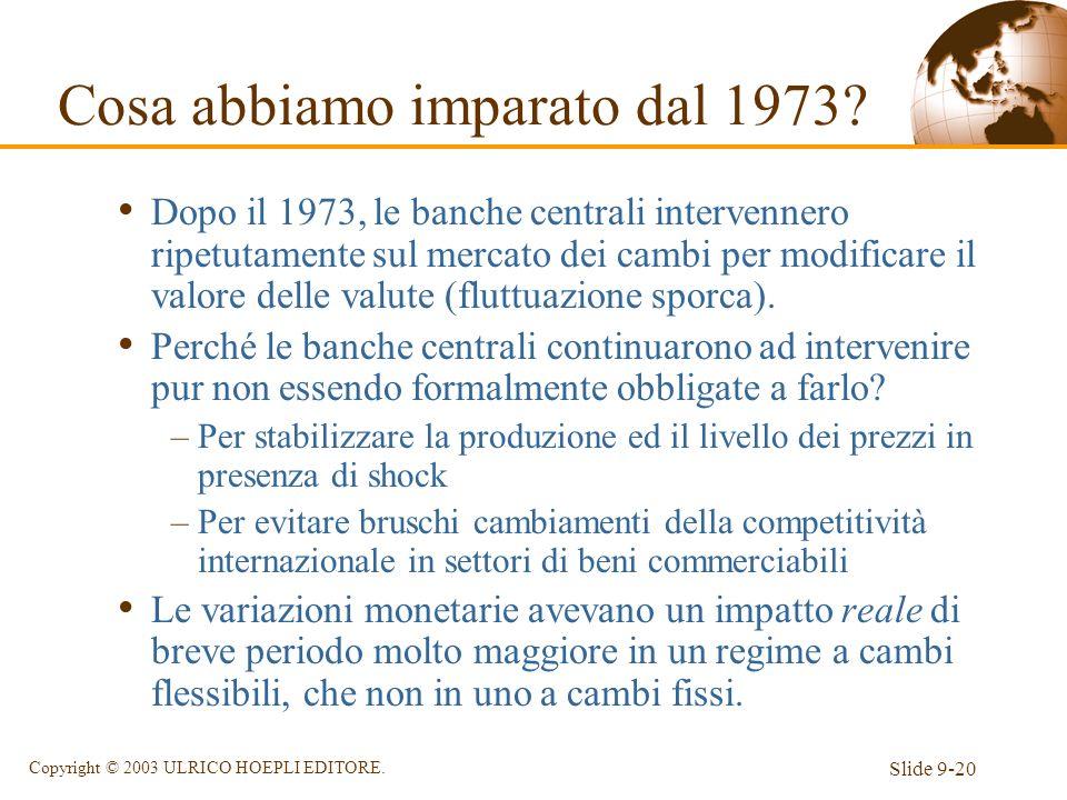 Slide 9-20 Copyright © 2003 ULRICO HOEPLI EDITORE. Dopo il 1973, le banche centrali intervennero ripetutamente sul mercato dei cambi per modificare il