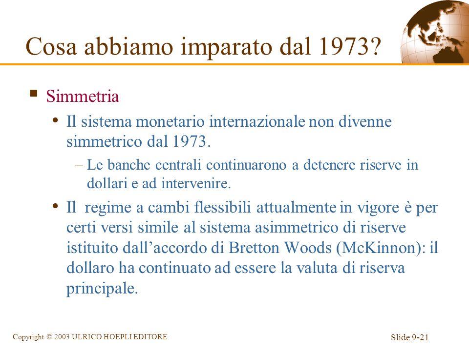 Slide 9-21 Copyright © 2003 ULRICO HOEPLI EDITORE. Simmetria Il sistema monetario internazionale non divenne simmetrico dal 1973. –Le banche centrali
