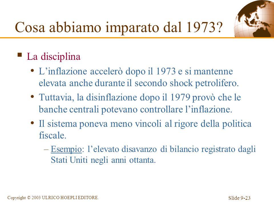 Slide 9-23 Copyright © 2003 ULRICO HOEPLI EDITORE. La disciplina Linflazione accelerò dopo il 1973 e si mantenne elevata anche durante il secondo shoc
