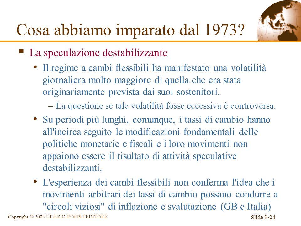 Slide 9-24 Copyright © 2003 ULRICO HOEPLI EDITORE. La speculazione destabilizzante Il regime a cambi flessibili ha manifestato una volatilità giornali