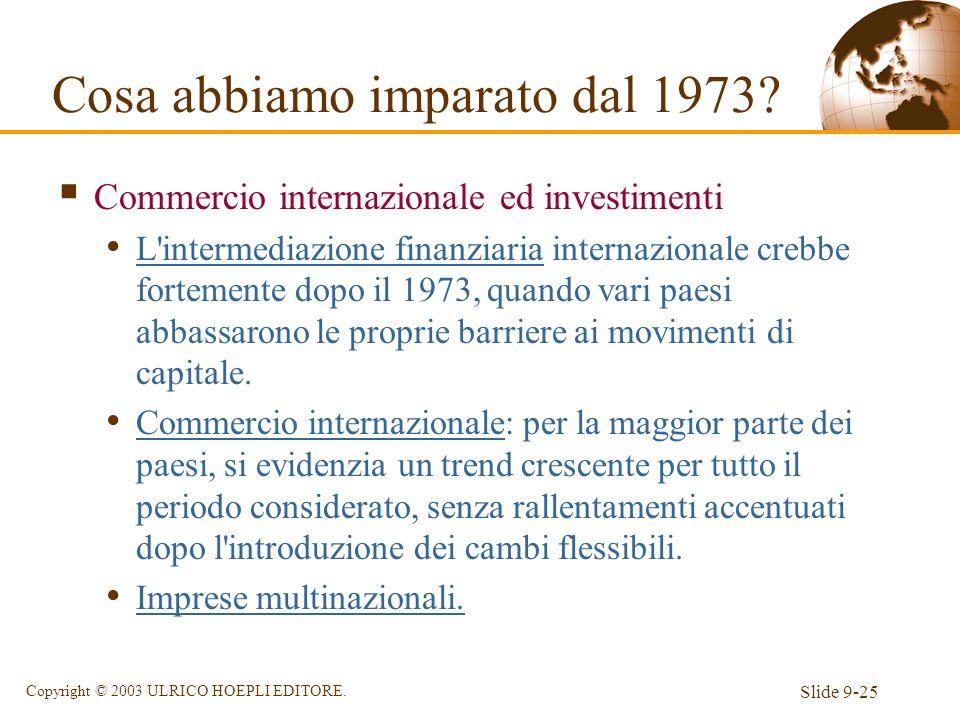 Slide 9-25 Copyright © 2003 ULRICO HOEPLI EDITORE. Commercio internazionale ed investimenti L'intermediazione finanziaria internazionale crebbe fortem