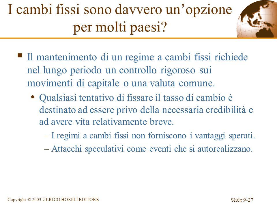 Slide 9-27 Copyright © 2003 ULRICO HOEPLI EDITORE. I cambi fissi sono davvero unopzione per molti paesi? Il mantenimento di un regime a cambi fissi ri