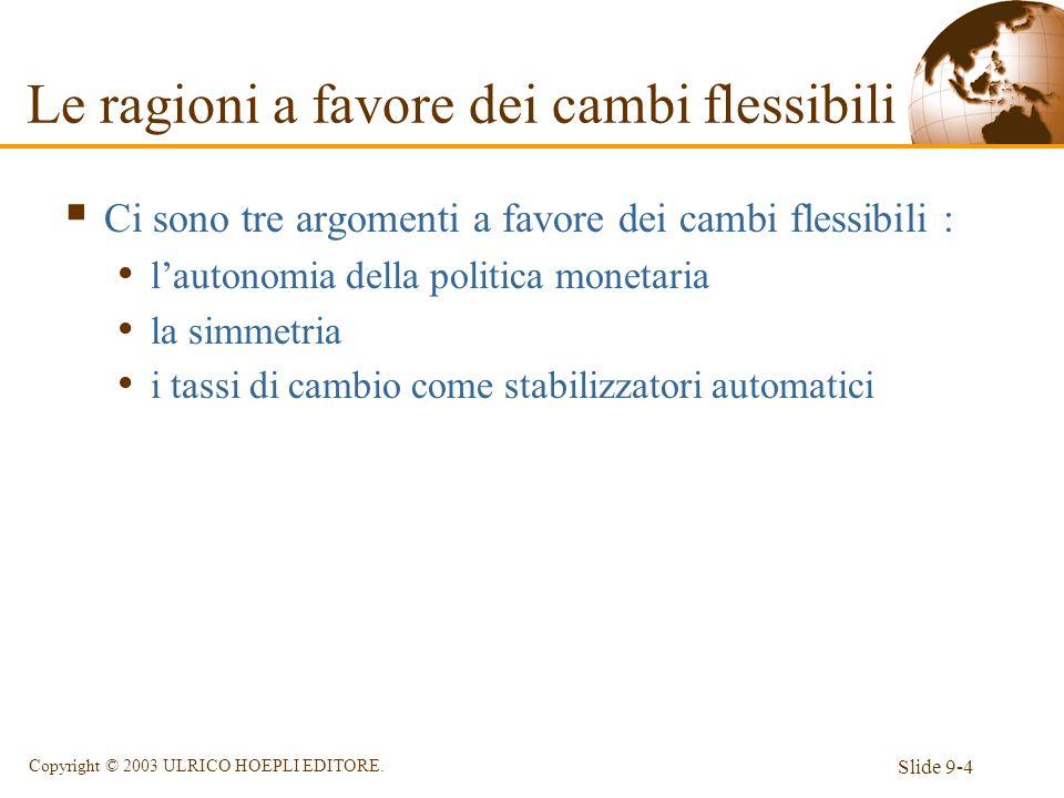 Slide 9-4 Copyright © 2003 ULRICO HOEPLI EDITORE. Le ragioni a favore dei cambi flessibili Ci sono tre argomenti a favore dei cambi flessibili : lauto