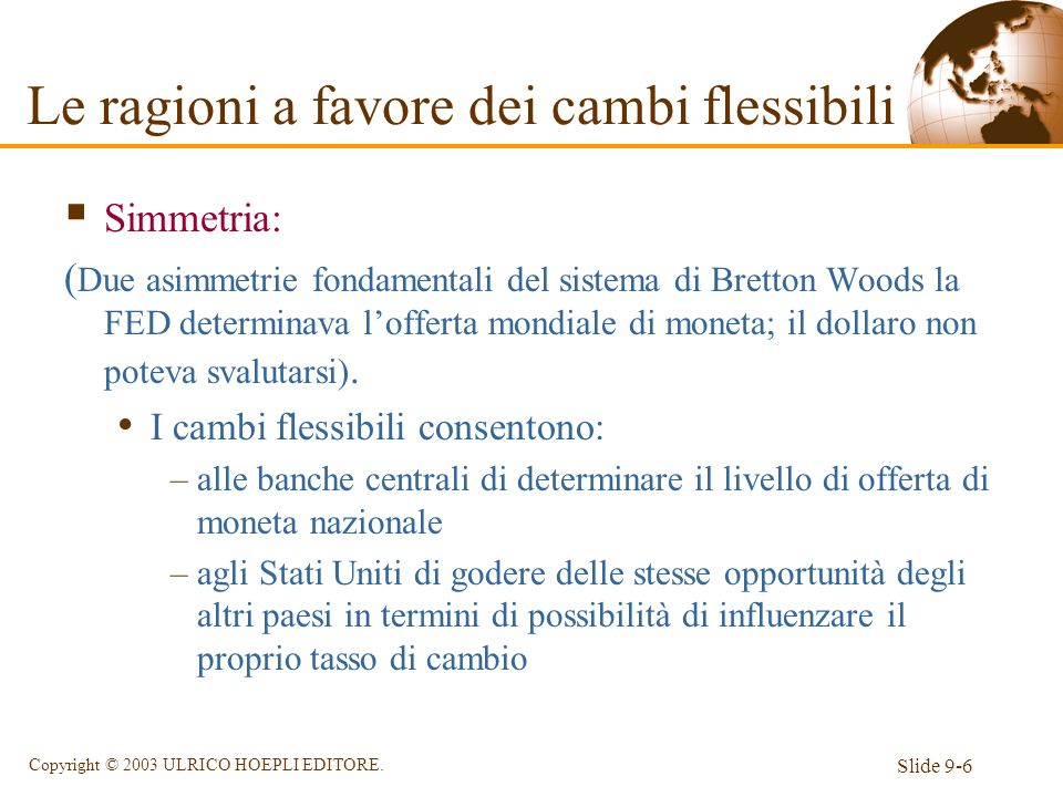 Slide 9-6 Copyright © 2003 ULRICO HOEPLI EDITORE. Simmetria: ( Due asimmetrie fondamentali del sistema di Bretton Woods la FED determinava lofferta mo