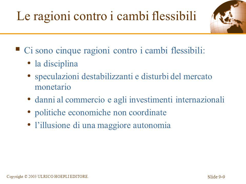 Slide 9-9 Copyright © 2003 ULRICO HOEPLI EDITORE. Le ragioni contro i cambi flessibili Ci sono cinque ragioni contro i cambi flessibili: la disciplina