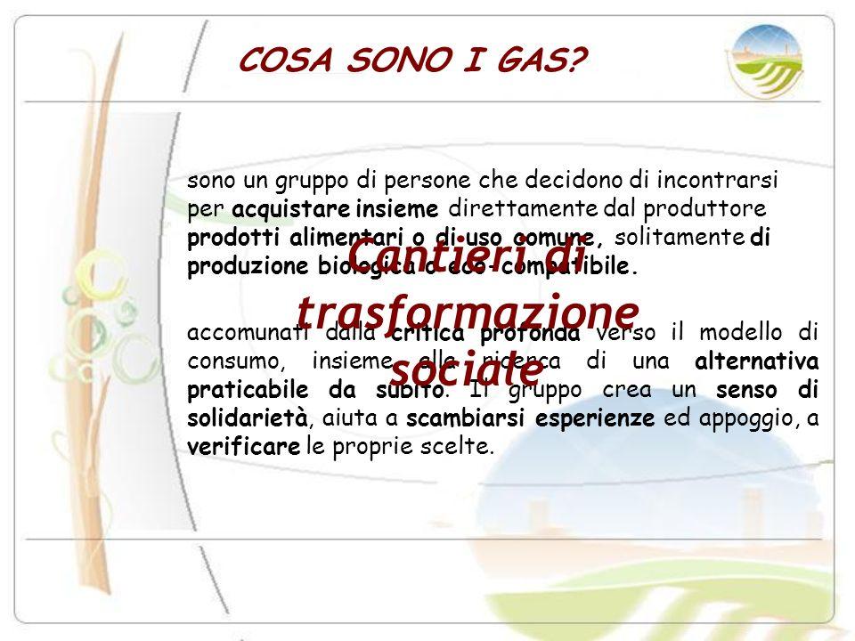 COSA SONO I GAS? sono un gruppo di persone che decidono di incontrarsi per acquistare insieme direttamente dal produttore prodotti alimentari o di uso