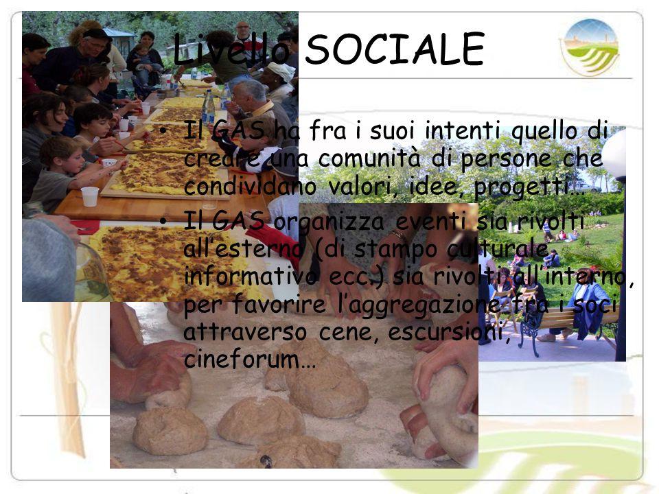 Livello SOCIALE Il GAS ha fra i suoi intenti quello di creare una comunità di persone che condividano valori, idee, progetti… Il GAS organizza eventi