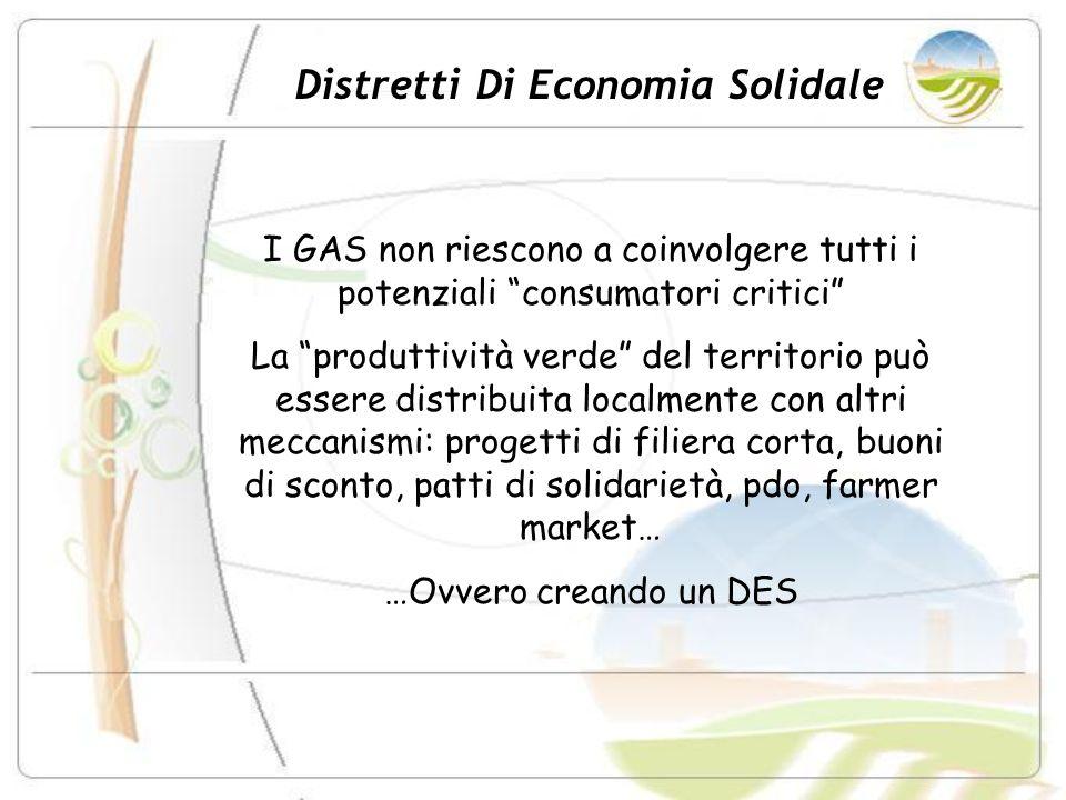 Distretti Di Economia Solidale I GAS non riescono a coinvolgere tutti i potenziali consumatori critici La produttività verde del territorio può essere