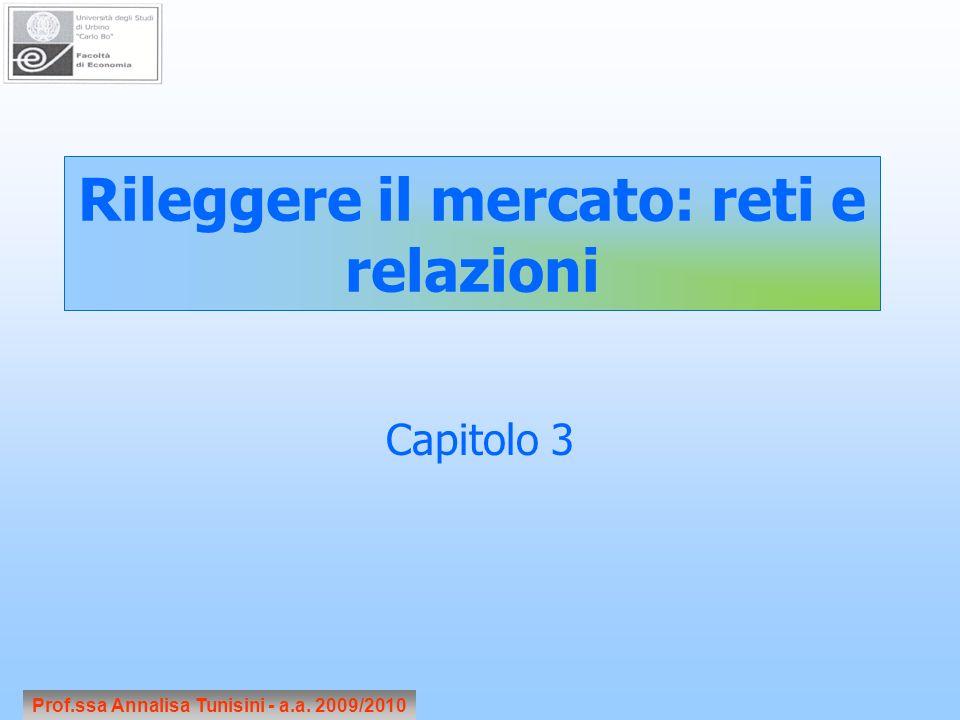 Capitolo 3 Rileggere il mercato: reti e relazioni Prof.ssa Annalisa Tunisini - a.a. 2009/2010