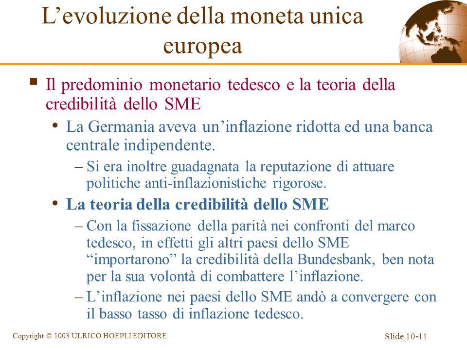 Slide 10-11 Copyright © 1003 ULRICO HOEPLI EDITORE. Il predominio monetario tedesco e la teoria della credibilità dello SME La Germania aveva uninflaz