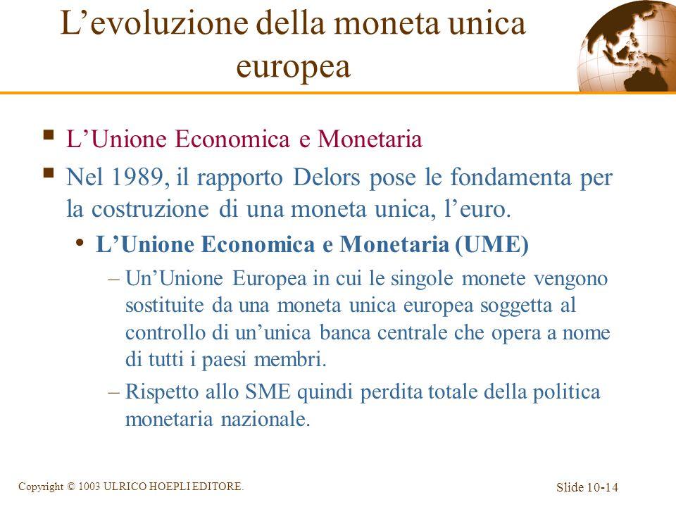Slide 10-14 Copyright © 1003 ULRICO HOEPLI EDITORE. LUnione Economica e Monetaria Nel 1989, il rapporto Delors pose le fondamenta per la costruzione d