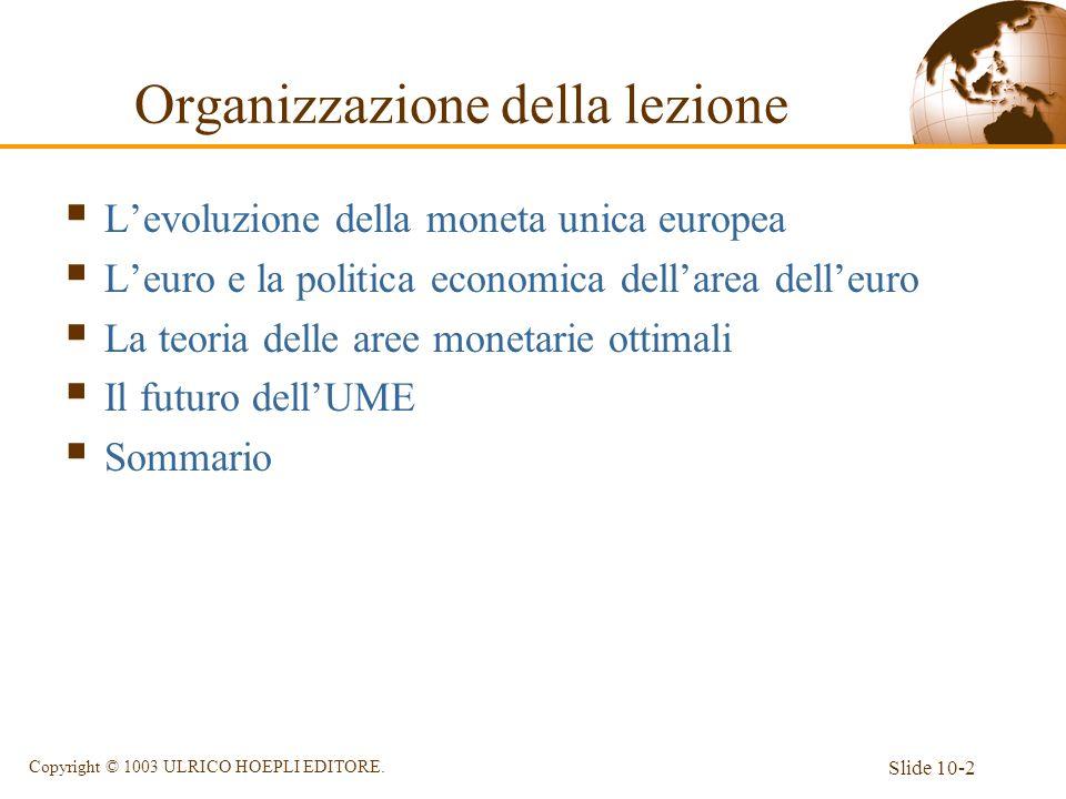 Slide 10-2 Copyright © 1003 ULRICO HOEPLI EDITORE. Organizzazione della lezione Levoluzione della moneta unica europea Leuro e la politica economica d