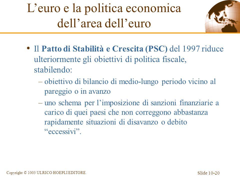 Slide 10-20 Copyright © 1003 ULRICO HOEPLI EDITORE. Il Patto di Stabilità e Crescita (PSC) del 1997 riduce ulteriormente gli obiettivi di politica fis