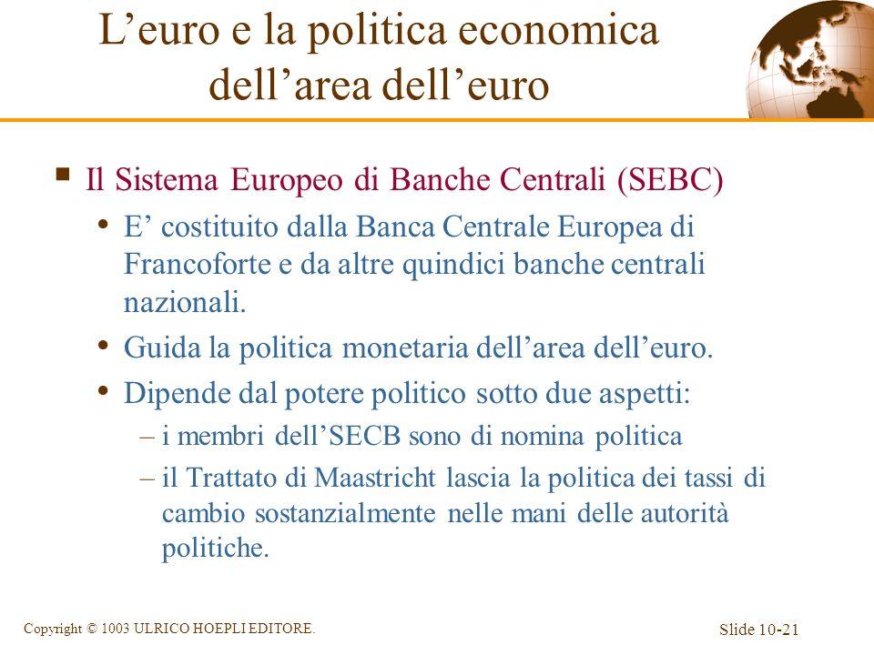 Slide 10-21 Copyright © 1003 ULRICO HOEPLI EDITORE. Il Sistema Europeo di Banche Centrali (SEBC) E costituito dalla Banca Centrale Europea di Francofo