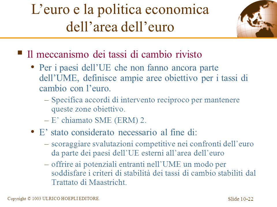 Slide 10-22 Copyright © 1003 ULRICO HOEPLI EDITORE. Il meccanismo dei tassi di cambio rivisto Per i paesi dellUE che non fanno ancora parte dellUME, d