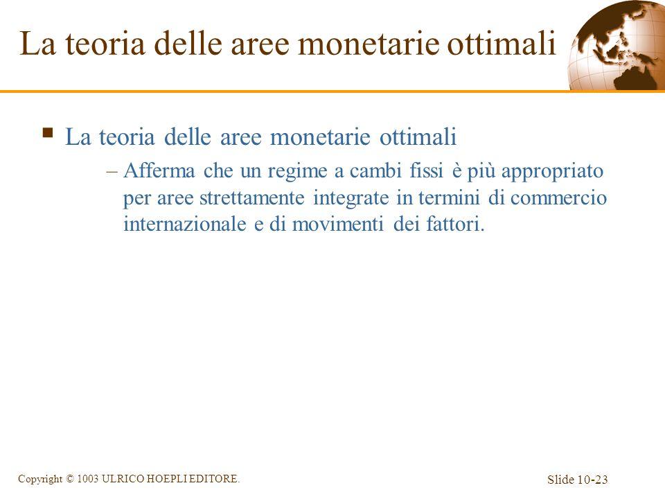 Slide 10-23 Copyright © 1003 ULRICO HOEPLI EDITORE. La teoria delle aree monetarie ottimali –Afferma che un regime a cambi fissi è più appropriato per