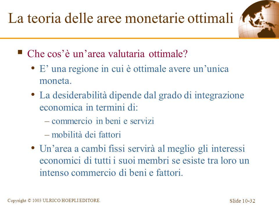Slide 10-32 Copyright © 1003 ULRICO HOEPLI EDITORE. Che cosè unarea valutaria ottimale? E una regione in cui è ottimale avere ununica moneta. La desid