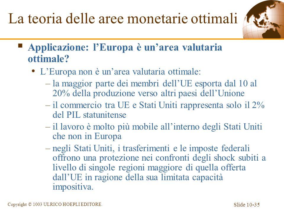 Slide 10-35 Copyright © 1003 ULRICO HOEPLI EDITORE. Applicazione: lEuropa è unarea valutaria ottimale? LEuropa non è unarea valutaria ottimale: –la ma