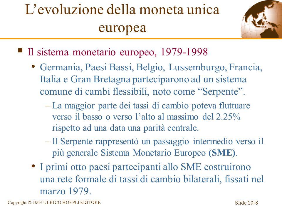 Slide 10-8 Copyright © 1003 ULRICO HOEPLI EDITORE. Il sistema monetario europeo, 1979-1998 Germania, Paesi Bassi, Belgio, Lussemburgo, Francia, Italia