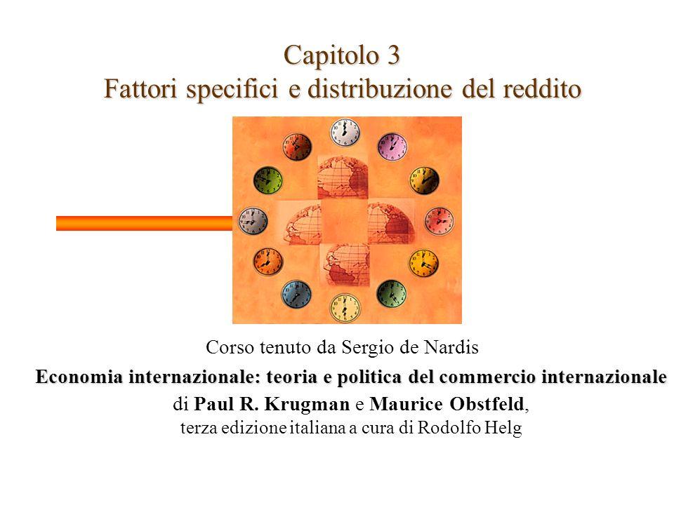 Capitolo 3 Fattori specifici e distribuzione del reddito Corso tenuto da Sergio de Nardis Economia internazionale: teoria e politica del commercio internazionale di Paul R.