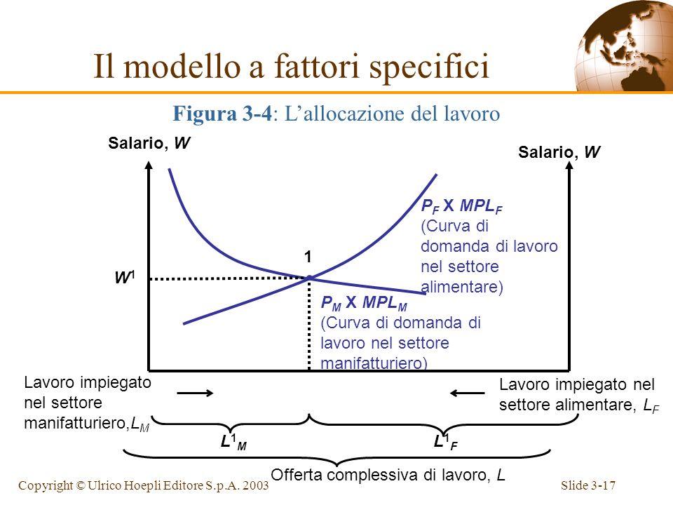 Slide 3-16Copyright © Ulrico Hoepli Editore S.p.A. 2003 Il salario deve coincidere nei due settori, in conseguenza dellassunzione di perfetta mobilità